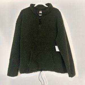 Olive Sherpa Pullover - NWT Plus Size!